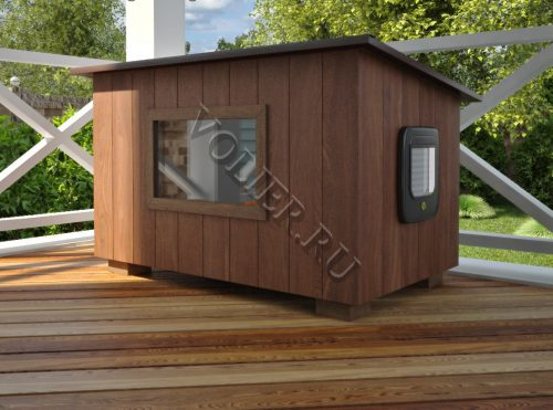 Деревянный домик для кошки Барсик