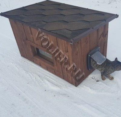 Деревянный домик для кошки Мурзик