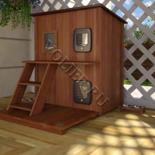 Двухэтажный деревянный домик для кошки Тиша